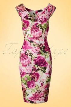 Vintage Chic Isadora Pink Floral Pencil Dress 100 59 19070 20160429 0006W