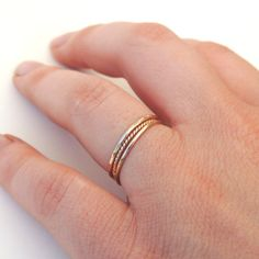 Delicate Textured Stacking Rings Set of 3, Sterling Silver, Gold Fill or 14k White, Yellow or Rose Gold- Pinky or Knuckle Ring Made to Order...