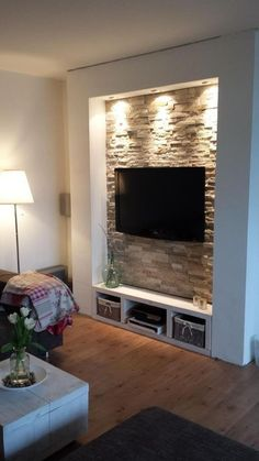 Chic and Modern TV wall mount ideas. - Since many people including your family enjoy watching TV, you need to consider the best place to install it. Here are 15 best TV wall mount ideas for any place including your living room. Living Room Tv, Home And Living, Stone Wall Living Room, Tv Wall Design, House Design, Deco Tv, Tv Wanddekor, Plafond Design, Tv Wall Decor
