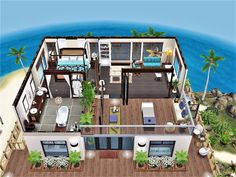 Casas The Sims Freeplay, Sims Freeplay Houses, Sims Free Play, Sims 4 House Design, Sims House Plans, Island Villa, Building A House, House Styles, Minecraft