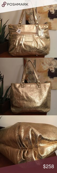 """NWT COACH POPPY LEATHER GLAM GOLD XL TOTE 15286 New with tags, absolutely stunning Coach carryall tote! Flawless. MSRP $278. The shimmery gold is perfect for the holiday season! Measures approximately 16""""L x 12.25""""H x 4.75""""D. Includes 3 Coach hangtags, 2 of which are still covered with protective plastic. Smoke free/pet home. Coach Bags Totes"""