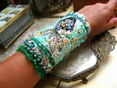 Tropical Fish Bracelet, Textile, Beaded, Blue, Green, Sparkly, Shell, Bubbles, Mermaid, Sea, Boho
