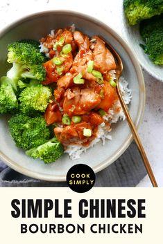 Bourbon Chicken Recipe Easy, Chinese Chicken, Easy Chicken Recipes, Chinese Food, Healthy Dinner Recipes, Chinese Dishes Recipes, Asian Recipes, Food Dishes