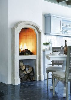 Fireplaces in the kitchen - Wouldn't you love one? - Article and Gallery