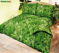 Marijuana Bedspread!  Wouldn't this be beautiful to Roll Up in!?!  Sweet Dreams, in-weed ...