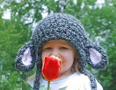 Fuzzy Lamb Earflap Hat in Grey
