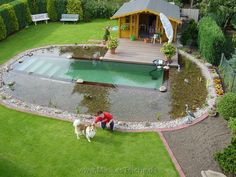 Decorative Rocks Ideas : no chemical pool filter. swimming pool kept clean by using a natural pond surrounding it. the plants fish and bacteria in the pond filter the pool water. Natural Swimming Ponds, Natural Pond, Ideas De Piscina, Diy Pool, Dream Pools, Swimming Holes, Swimming Pool Designs, Cool Pools, Outdoor Projects