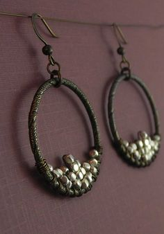 Bronze and Silver Ring Earrings by BeadafulDesignsbyDL on Etsy, $22.00