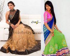 Net Half Sarees with Work | Saree Blouse Patterns