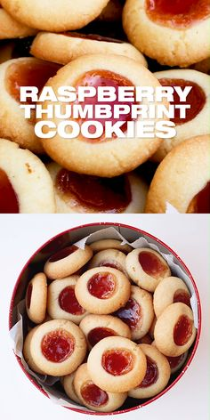 Lemon Raspberry Thumbprint Cookies Recipe - How to make melt in the mouth sweet thumbprint cookies with a raspberry jam or jelly filling. DIY easy from scratch Christmas holiday cookie recipe for the whole family. Holiday Cookie Recipes, Easy Cookie Recipes, Sweet Recipes, Baking Recipes, Dessert Recipes, Recipes For Sweets, Easy Holiday Cookies, Cookie Recipes From Scratch, Cookie Ideas