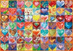 Schmidt-Spiele 58295 - Heart to heart - 1000 pieces jigsaw puzzle order here - Board games + puzzle from your puzzle online shop! Fabric Wreath, Heart Patterns, Fabric Patterns, 1000 Piece Jigsaw Puzzles, Board Games, Kids Rugs, Drawings, Painting, Collage
