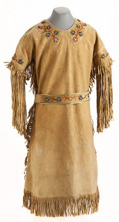 Ojibwe beaded hide dress and belt