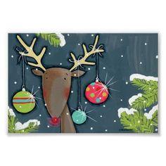 Bright Christmas Reindeer Print.
