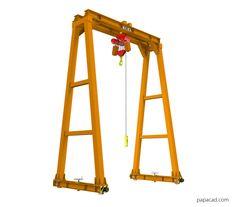 Gantry crane dwg drawings and 3D models papacad.com Crane Drawing, Technical Documentation, Crane Design, Autodesk Inventor, Gantry Crane, 3d Cad Models, Steel Structure, Technical Drawing, Autocad