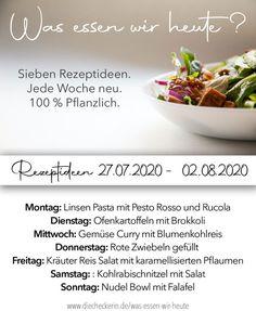 Rezeptideen und Kochinspiration mit sieben Rezepten für diese Woche. #vegan #veganessen #essensplan #veganeressensplan #kochinspiration #rezepte #rezeptideen #vegankochen #rezeptevegan #veganerezepte #veganesessen #pflanzlich