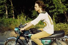 Mick Jagger on his Honda CB350