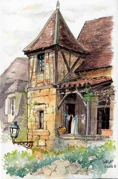 Sarlat, Rue Montaigne by Cat Gout Pen And Watercolor, Watercolor Landscape, Watercolor Illustration, Watercolor Paintings, Watercolours, Landscape Illustration, Urban Landscape, Landscape Art, Landscape Paintings
