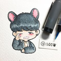 D-11, Those black ears suit him!!!! I love them!!! ❤️❤️#Suga #BTS #Bangtanboys #Picofbaozi #Inktober2016 #fanart #Yoongi I've just realized that all the days in my BTS Inktober list were going wrong so I will continue with my own..