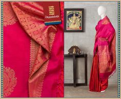 Bird and chakra motifs are encased in check patterns on the pallu. On the body, dainty members of the fauna are stenciled out.  #Utppalakshi #Silksaree#Kancheevaramsilksaree#Kanchipuramsilks #Ethinc#Indian #traditional #dress#wedding #silk #saree #weaving#Chennai #boutique #vibrant#exquisit#weddingsaree#sareedesign #colorful #vivid #indian #southindian #bridal #festival #sophistication   https://www.facebook.com/Utppalakshi/   Contact: 097899 37149