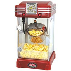 Funtime FT2518 Rock'n Popper 2.5-oz Hot Oil Popcorn Machine (FT2518) (91 AUD) ❤ liked on Polyvore featuring home, kitchen & dining, small appliances, red, air popcorn popper, red tea kettle, retro tea kettle, pop-corn maker and retro popcorn popper