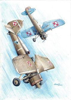 PZL P.11C – polski samolot myśliwski. Rys. Oskar G.