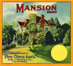 Piru Ventura County Mansion Orange Citrus Fruit Crate Label Art Print. $9.99, via Etsy.