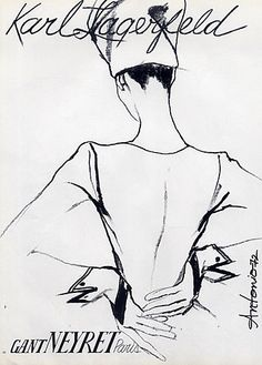 Fashion illustration by Antonio, 1972, Karl Lagerfeld Couture, Neyret Gloves Paris.