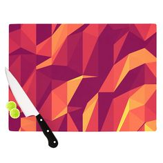 """Strawberringo """"Abstract Mountains"""" Orange Abstract Cutting Board"""