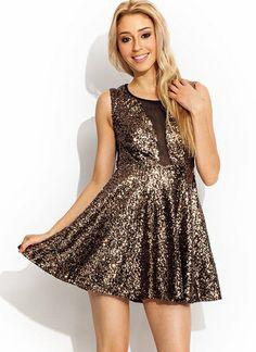 Mesh Inset Sequin Dress