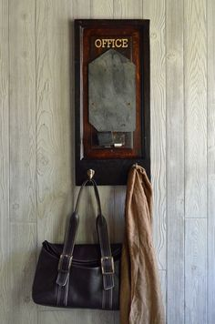 """""""Office"""" Chalkboard with hooks - Vintage slate roof tile chalkboard - http://secondchanceart.net/product/office-chalkboard-with-hooks-vintage-slate-roof-tile-chalkboard/"""