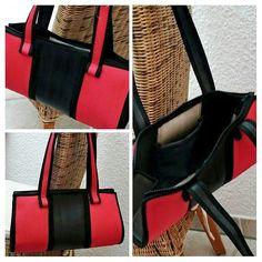 Tasche aus Feuerwehrschlauch rot/schwarz