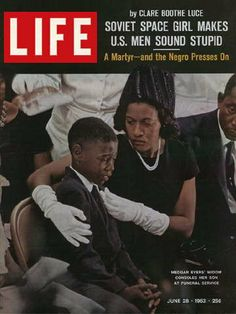 """""""Medgar Evers widow and son, LIFE 1963."""" Medgar Evers was a civil rights activist with Dr. Martin Luther King,who was murdered in 1963. Mrs. Evers spoke at President Obama's inauguration today January 20th, 2013.Biddy Craft"""