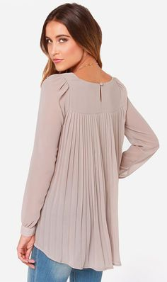 LULUS Exclusive Trade Secrets Taupe Top