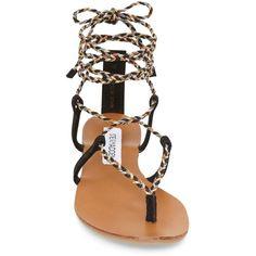 Steve Madden 'Werkit' Gladiator Sandal ($60) ❤ liked on Polyvore featuring shoes, sandals, steve madden footwear, gladiator thong sandals, synthetic shoes, toe post sandals and steve madden