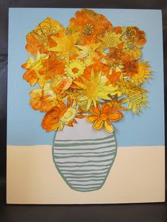 2010 auction art - have kids draw flowers over large sheets of paper, wash them with paint -
