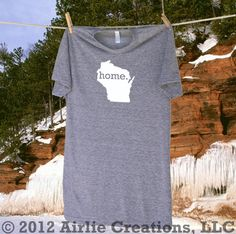 Wisconsin Home State Tee Shirt T-Shirt - Unisex Sizes S MD LG and XL - Grey or Navy Blue. $21.95, via Etsy.