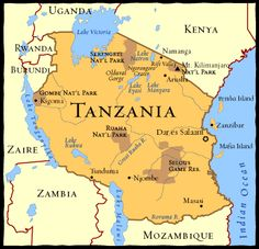 Tanzania Map--A Girl Called Problem takes place up at the top on the Southern Shore of Lake Victoria. African Countries Map, African Great Lakes, Dar Es Salaam, Great Lakes Region, Arusha, Thinking Day, African Safari, East Africa, Cartography