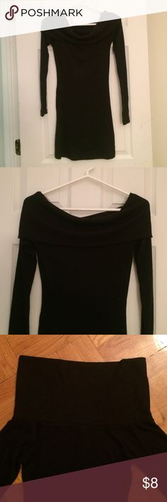 "🎉🎉SALE🎉🎉 Long sleeve sweater for any occasion Thin, black, long sleeved top with 7"" tunic. Fold to have both shoulders showing, one shoulder, or casually fold for a simple neckline. From shoulder to hem 29"" Zenana Outfitters Tops Tees - Long Sleeve"