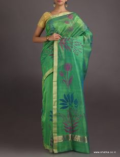 Alisha The Charm Of Lotus #ChanderiBlockPrintedSaree
