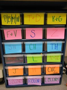 "Boxes for different consonants to practice in speech! Each box has small items in it with the corresponding sound. The ""R"" is currently missing on the blank box. --- this is such an awesome idea originally pinned by another therapist!!"