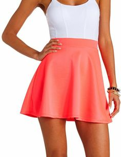 Neon High-Waisted Skater Skirt: Charlotte Russe