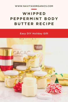 Some gifts are big, others are small, but the ones that come from the heart are the best gifts of all.  Show someone how much you care this holiday season with a gift you make yourself – like this DIY Cacao-enriched body butter, crafted with ingredients that are as good for the skin as they are for the planet! Easy Butter Recipe, Diy Beauty, Beauty Hacks, Diy Holiday Gifts, Five Ingredients, Essential Fatty Acids, Body Butter, Superfood, Peppermint