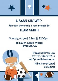 Sports Baby Caucasian Baby Shower Invitations | Candles and Favors