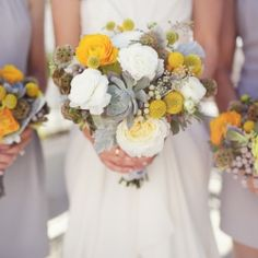 An effortlessly beautiful wedding with fabulous grey bridesmaid dresses and yellow accents.