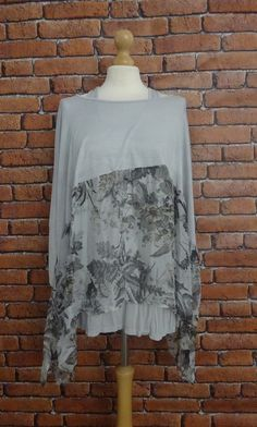 Patterned Silk Half and Half Top