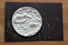 Moonscape using homemade puff paint.  Great for Good Night Moon or Harold and the Purple Crayon.