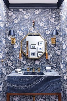 gushing over this wallpaper and tile combination...