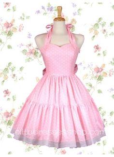 Pink Halter Sweetheart Neckline Sleeveless Sweet Lolita Dress With Vertical Pleats Style