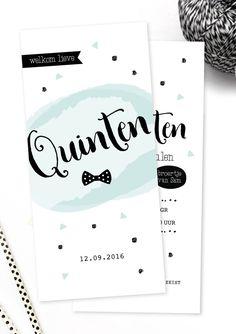 Stoer en trendy geboortekaartje Quinten: speels stoer en net even wat anders! Uit een unieke collectie van Charlyfine voor dat ene speciale moment!