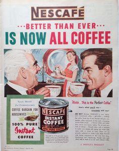 NESCAFE COFFEE AD RETRO CAFE DECOR 1954 original vintage AUSTRALIAN advertising